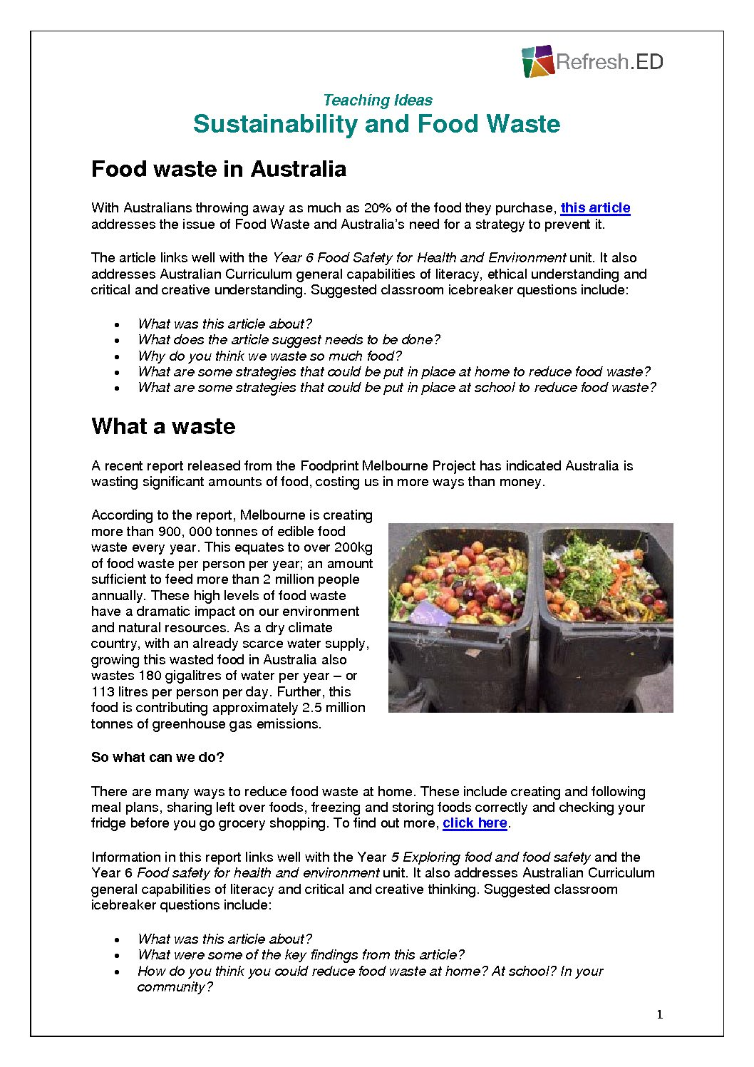 Sustainability and Food Waste - Refresh ED
